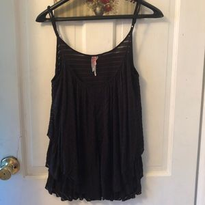 Free People black semi sheer tank Sz. L